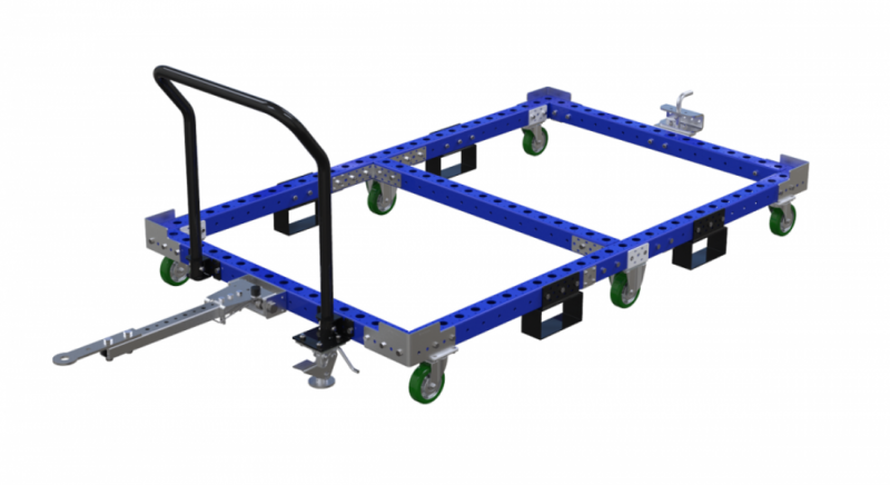 Large industrial pallet cart with handlebar and tow bar by FlexQube