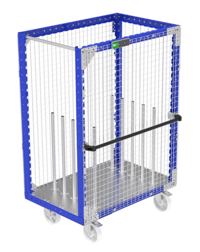 Modular kit cart with fence by FlexQube