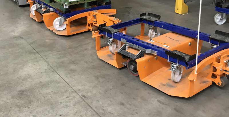 FlexQube pallet carts loaded into a liftrunner train