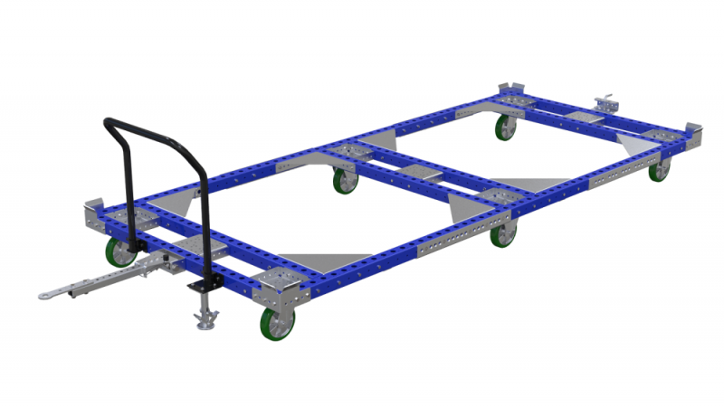 Long material handling pallet cart with tow bar by FlexQube