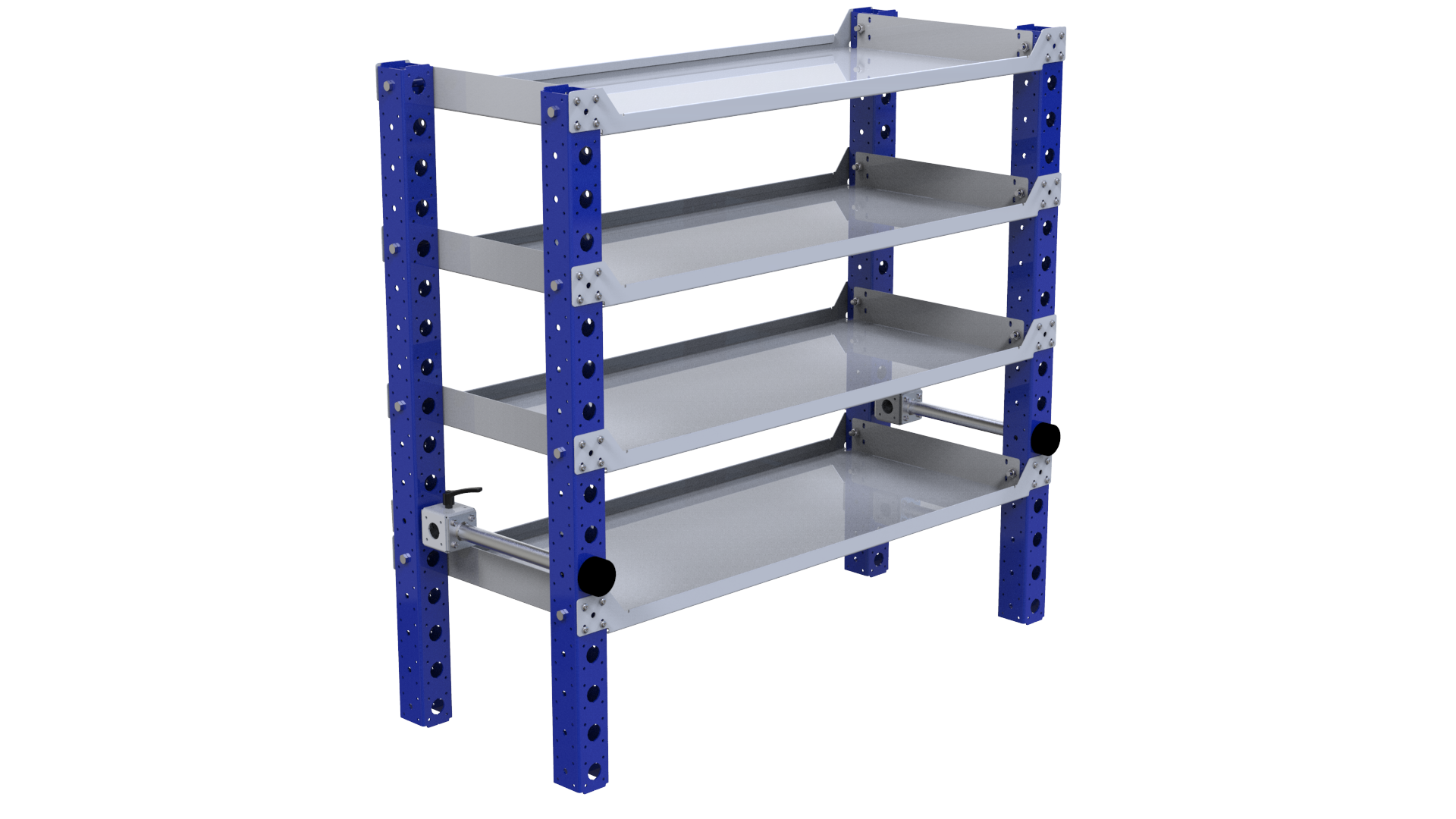 Flat shelf rack for transporting various parts and boxes.