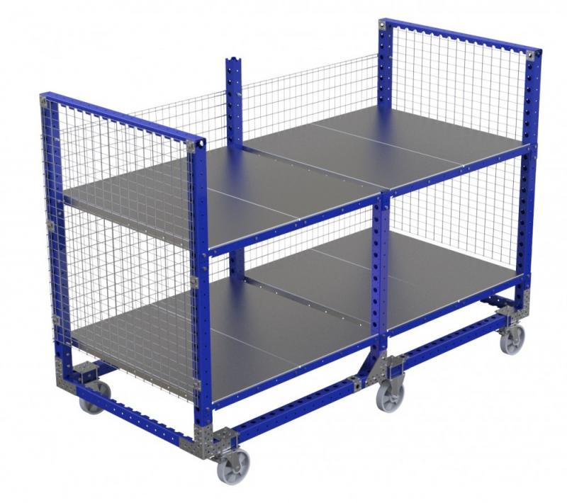 Industrial shelf cart with wire mesh by FlexQube
