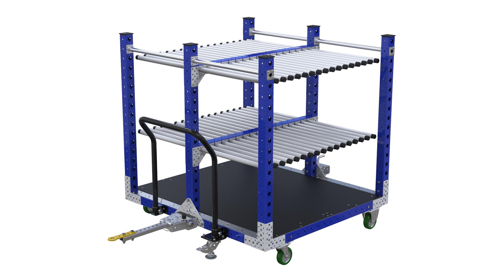 Kit cart designed to transport panels across a shop floor.