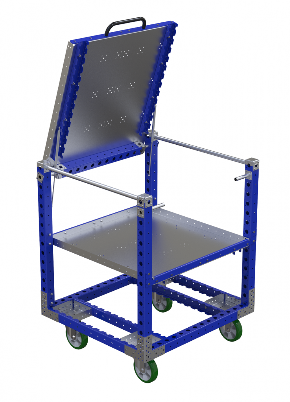 FlexQube material handling with pop up shelf