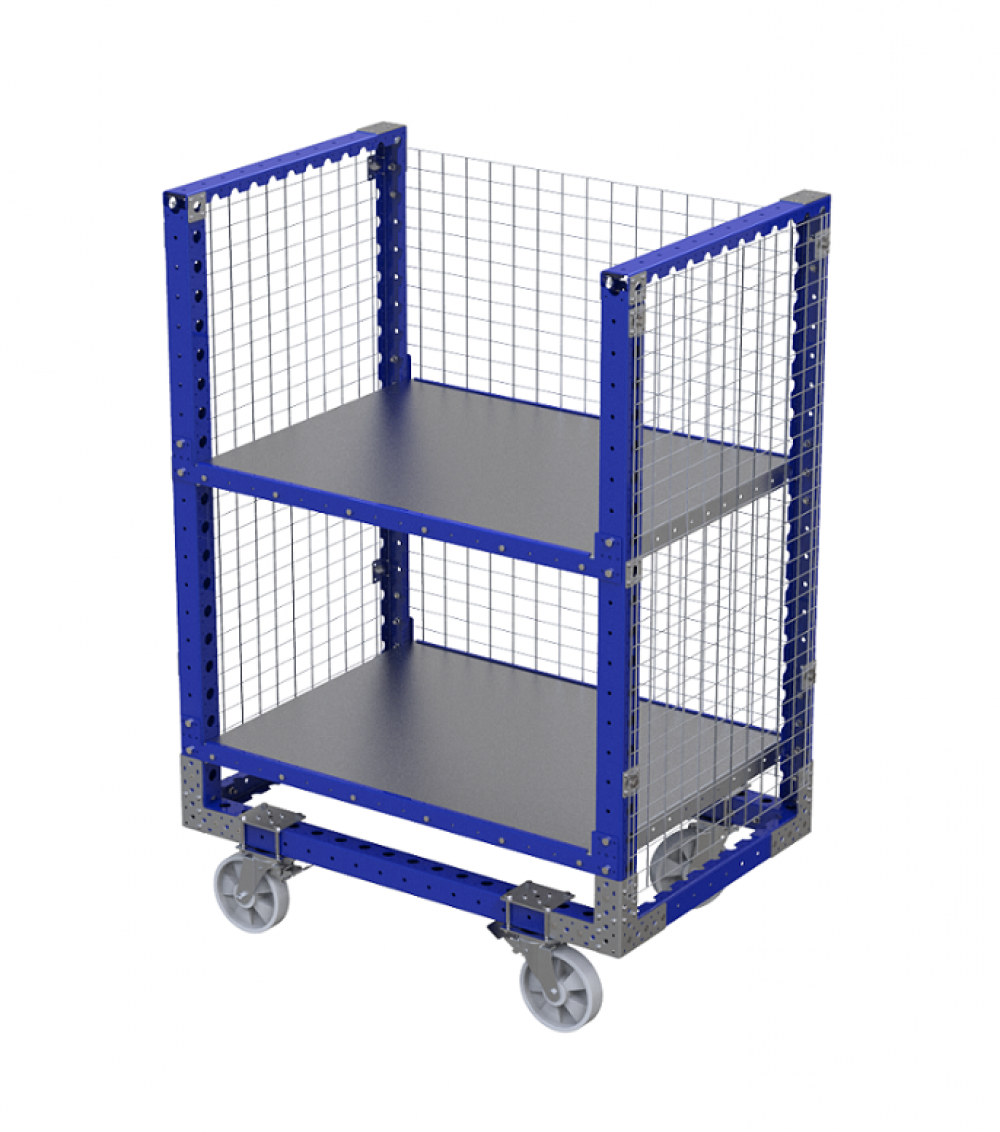 FlexQube Material Handling shelf cart with wire frame on the outside