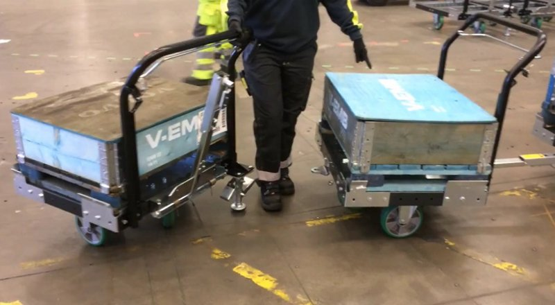 Releasing a flexqube pallet cart from either side