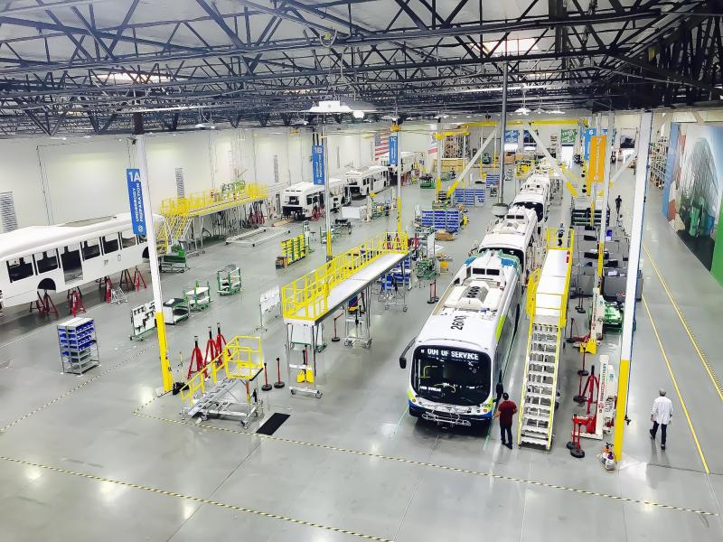 FlexQube carts throughout a bus manufacturing facility