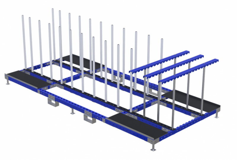 Industrial rack with hangers by FlexQube