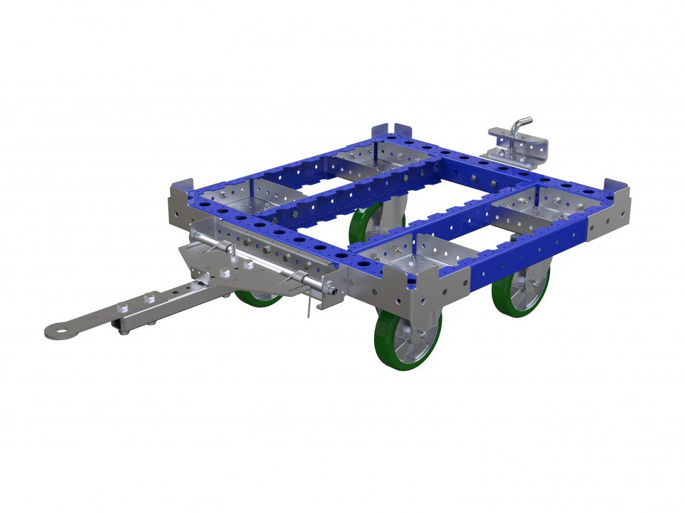 Small custom designed container cart with tow bar