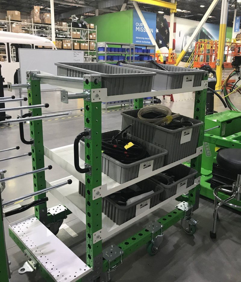 FlexQube kit cart at a bus manufacturer