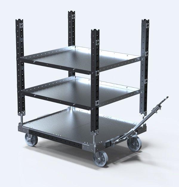 FlexQube Material Handling shelf cart with tow bar