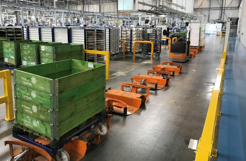 FlexQube Material Handling liftrunner frames with pallet carts
