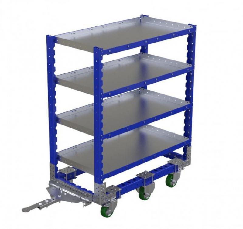FlexQube flat shelf cart with tow bar