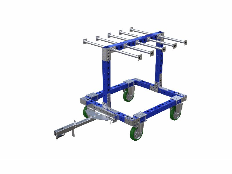 FlexQube hanging cart with foot release tow bar