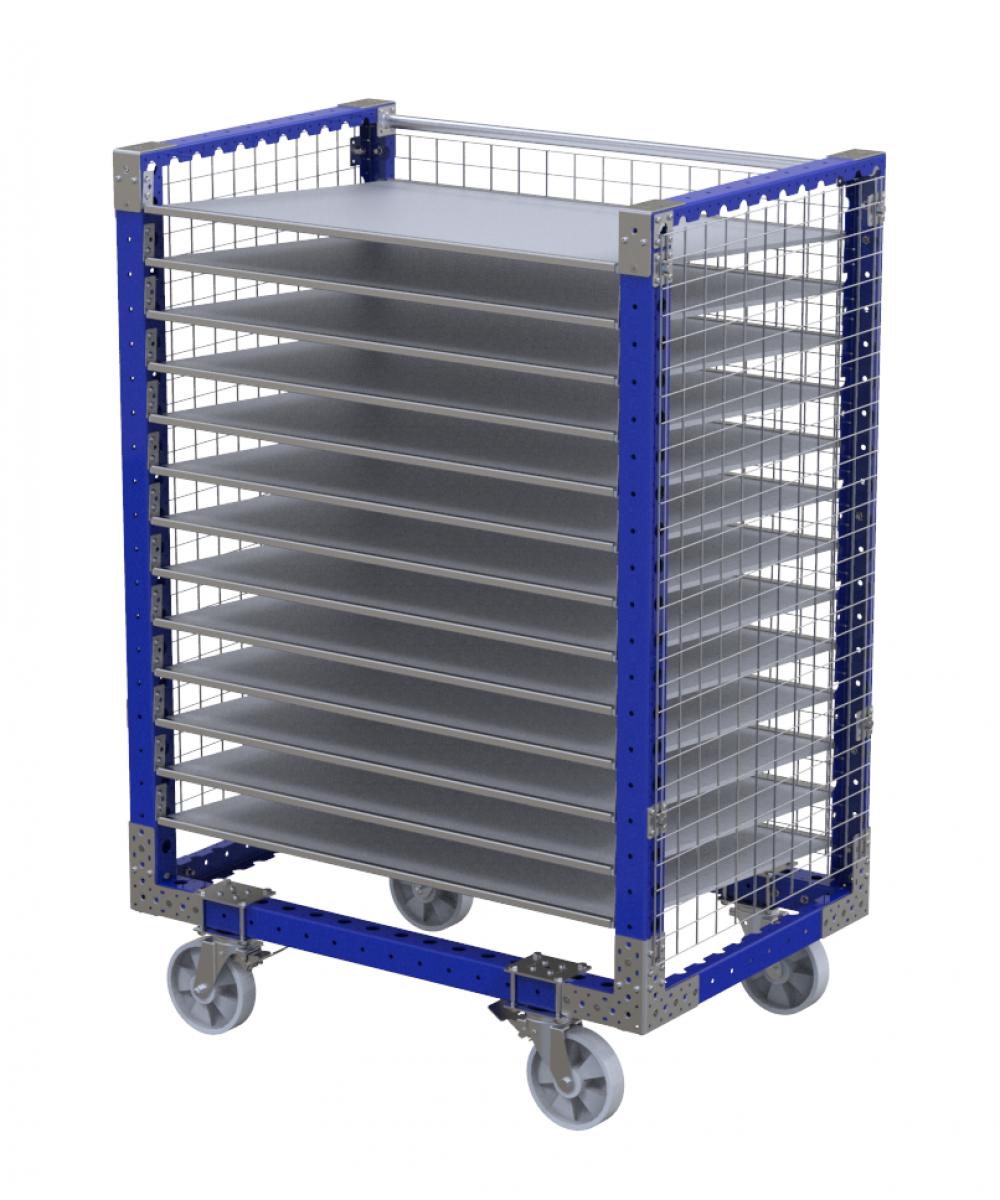 Industrial fenced flow shelf cart by FlexQube
