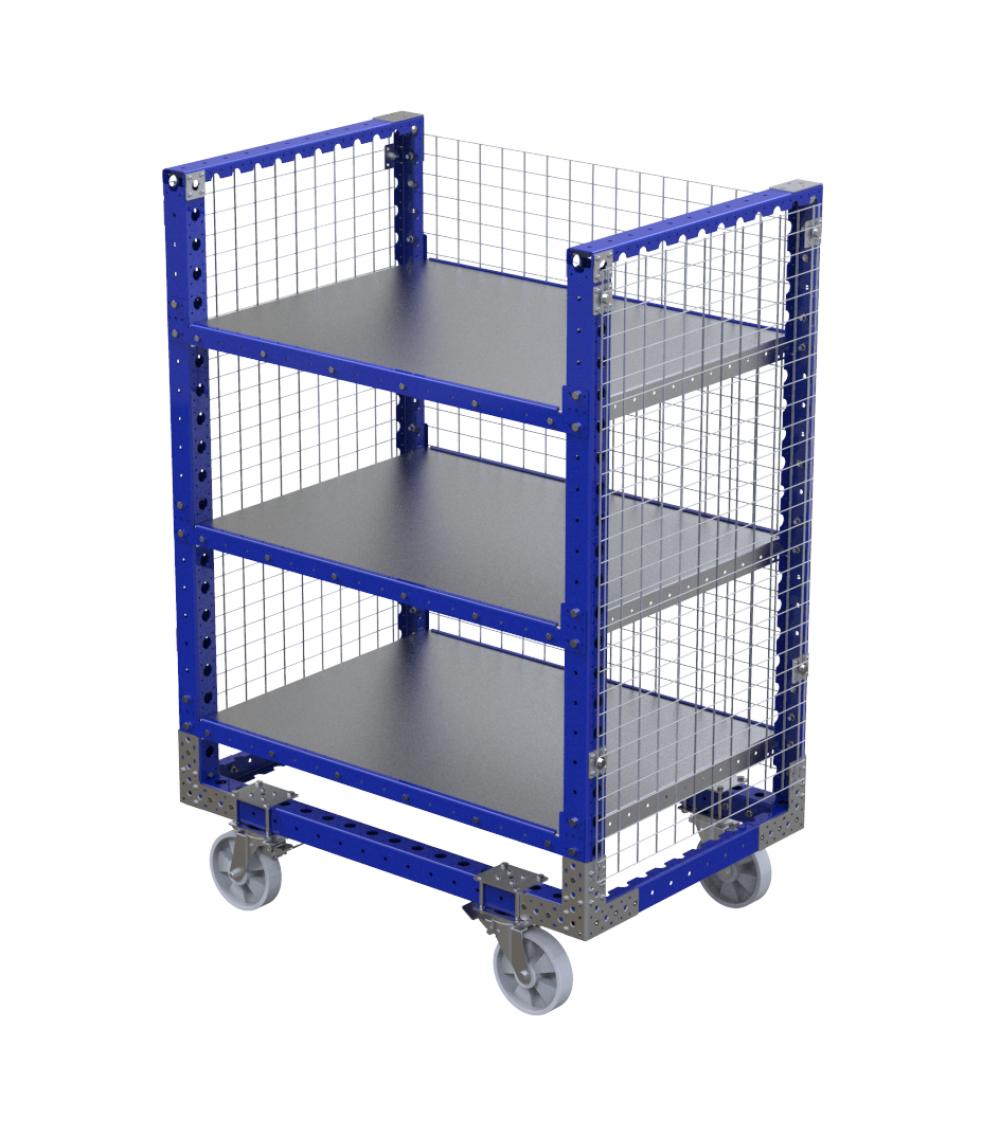 FlexQube Material Handling shelf cart with wire mesh