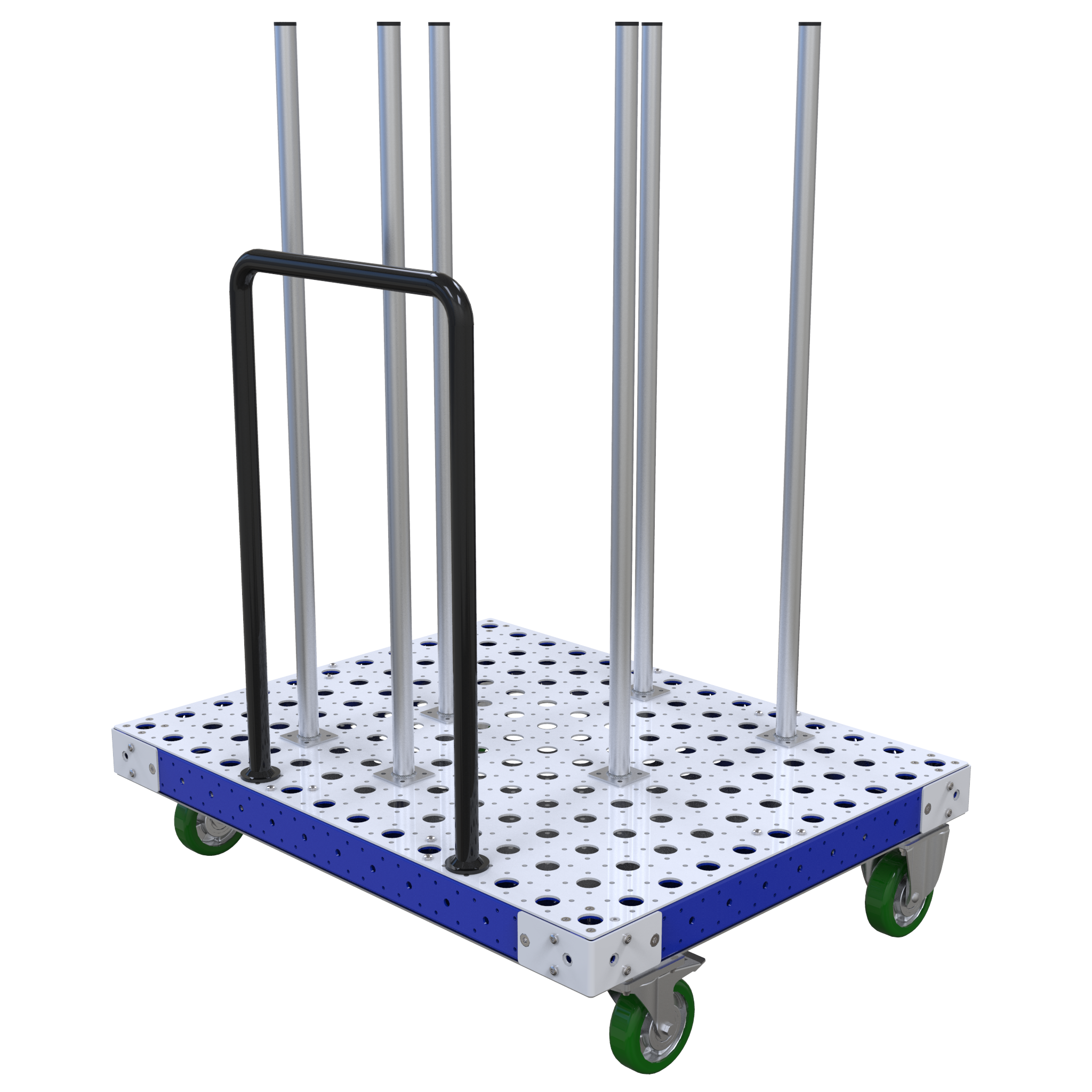 The cart is designed to stack different-sized circular components on the tubes.