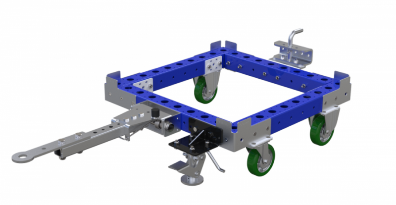 Small industrial tote dolly with tow bar by FlexQube