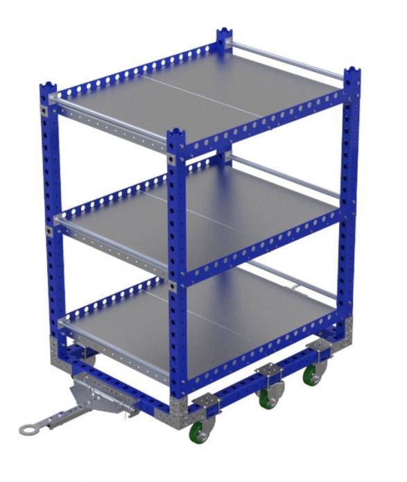 Modular shelf cart with three shelves by FlexQube