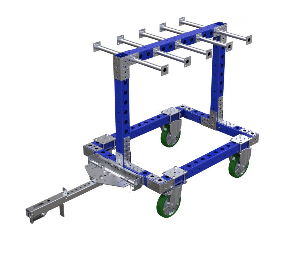 FlexQube Material Handling custom hanging cart with tow bar