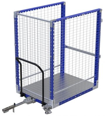 Modular & industrial material handling pallet cart with fence by FlexQube