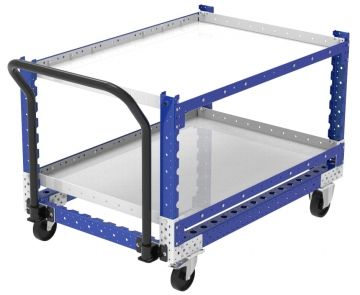 Modular & industrial material handling shelf cart with handlebar by FlexQube