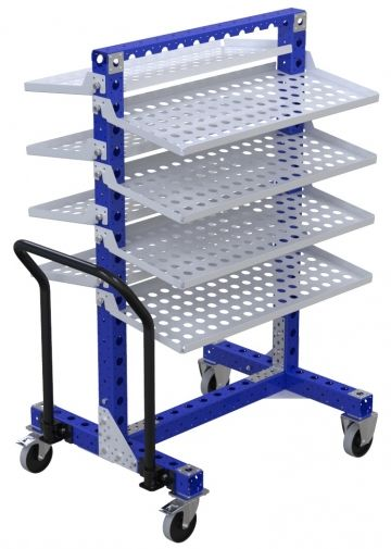 Modular & industrial material handling removable shelf cart by FlexQube