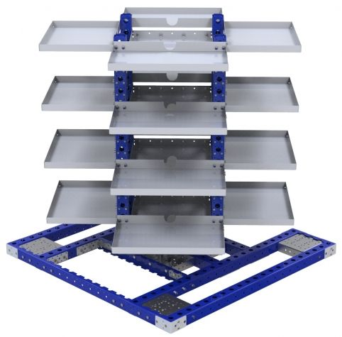 Rotating Removable Shelf Cart - 1470 x 1470 mm