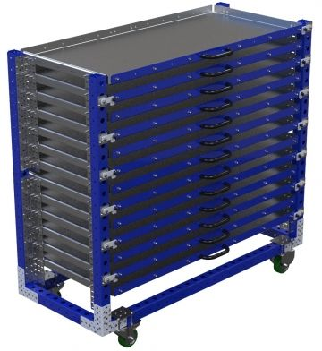 Modular & industrial material handling extendable shelf cart by FlexQube