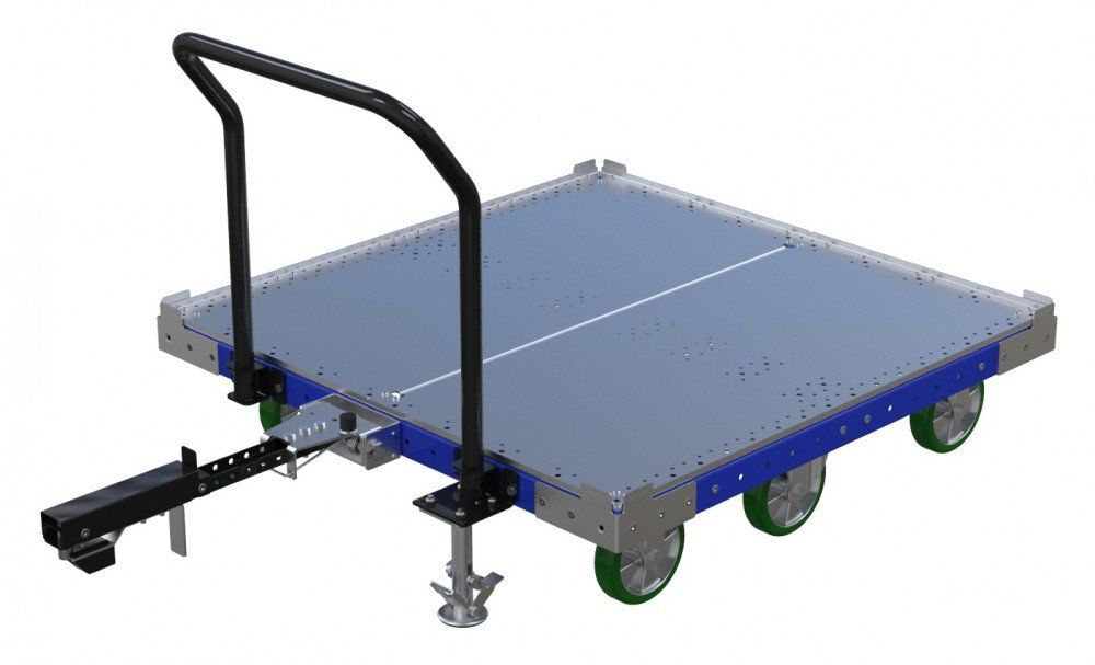 FlexQube flat deck tugger cart with handlebar