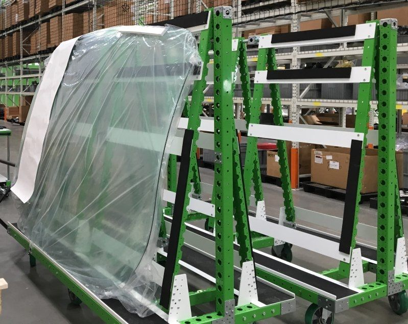 FlexQube windshield carts at Proterra buses