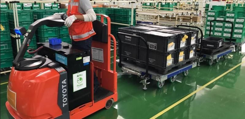 FlexQube pallet carts being towed