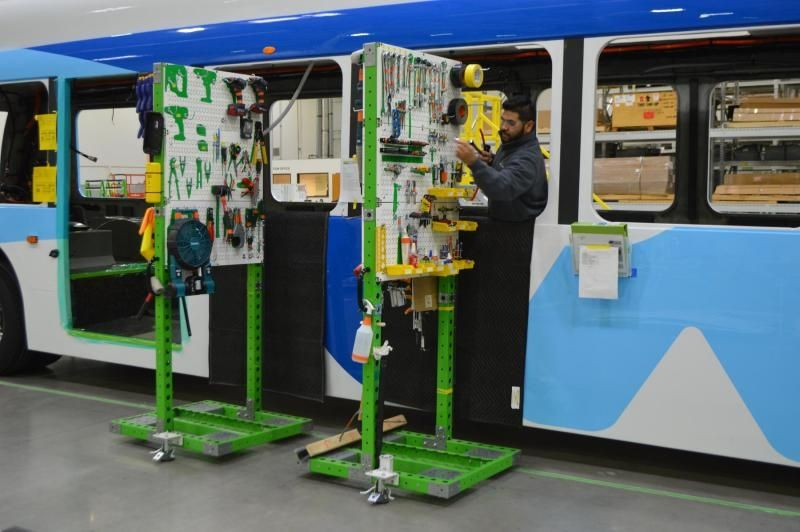 FlexQube kit cart helping with the manufacturing of buses