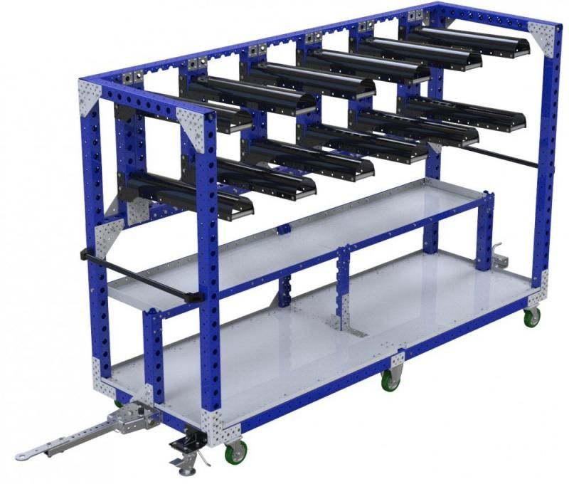 Industrial kit cart with shelf and tow bar by FlexQube