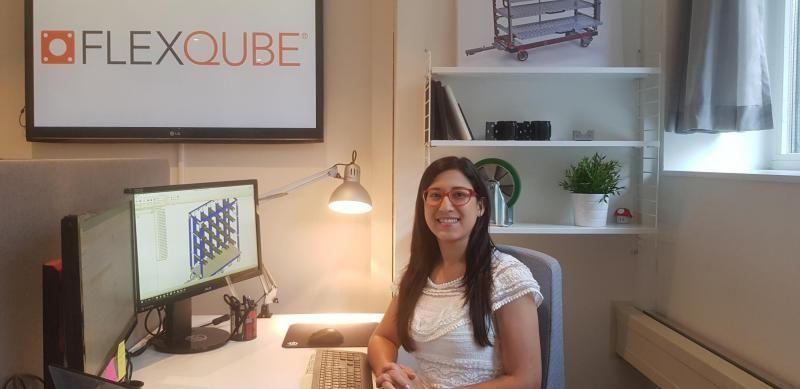 Quality manager Cinthia at FlexQube HQ