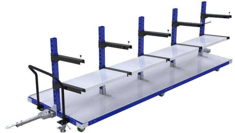 Material handling flat shelf tugger cart