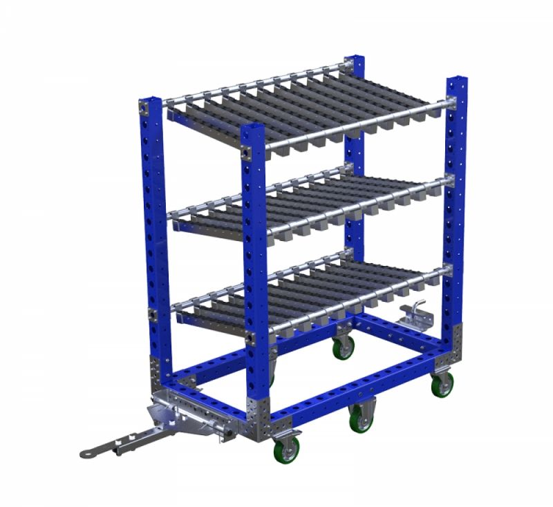 Material handling flow rack with tow bar by FlexQube