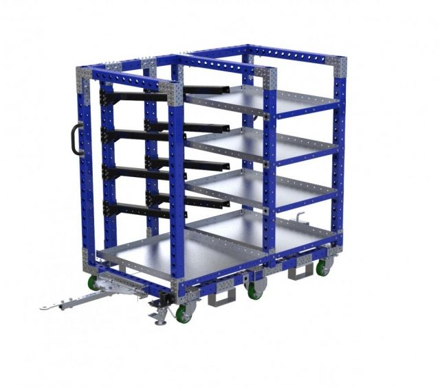 Material handling kit cart with tow bar and forklift pockets by FlexQube