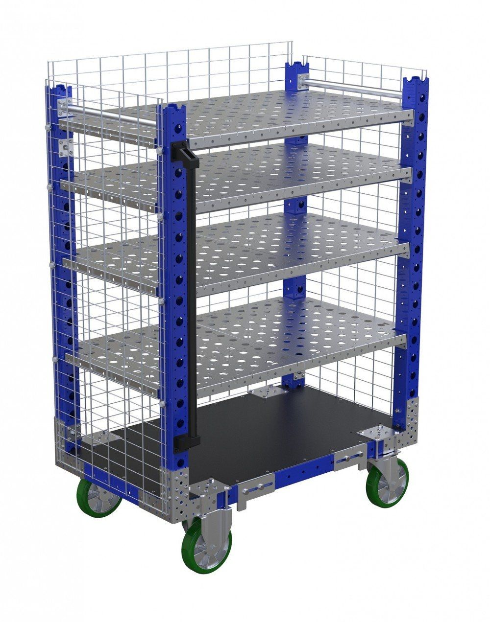Flexible shelf cart with fence by FlexQube