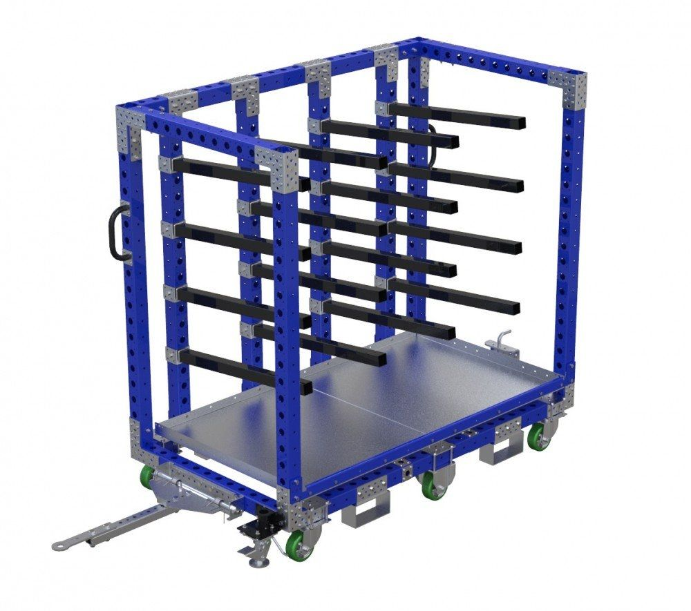 Modular hanging cart with tow bar and forklift pockets by FlexQube