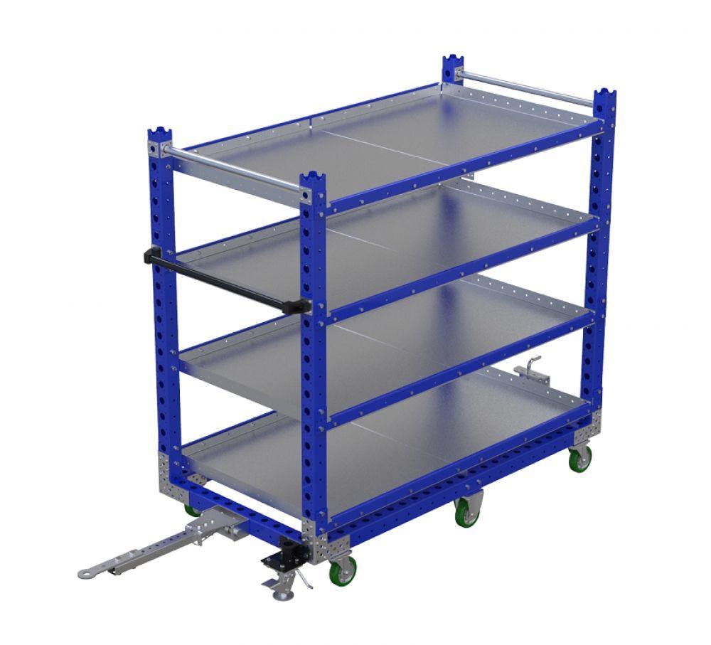 Modular flat shelf cart with tow bar by FlexQube