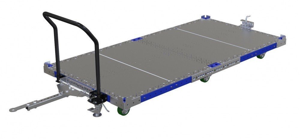 Large industrial pallet cart with steel flat deck by FlexQube