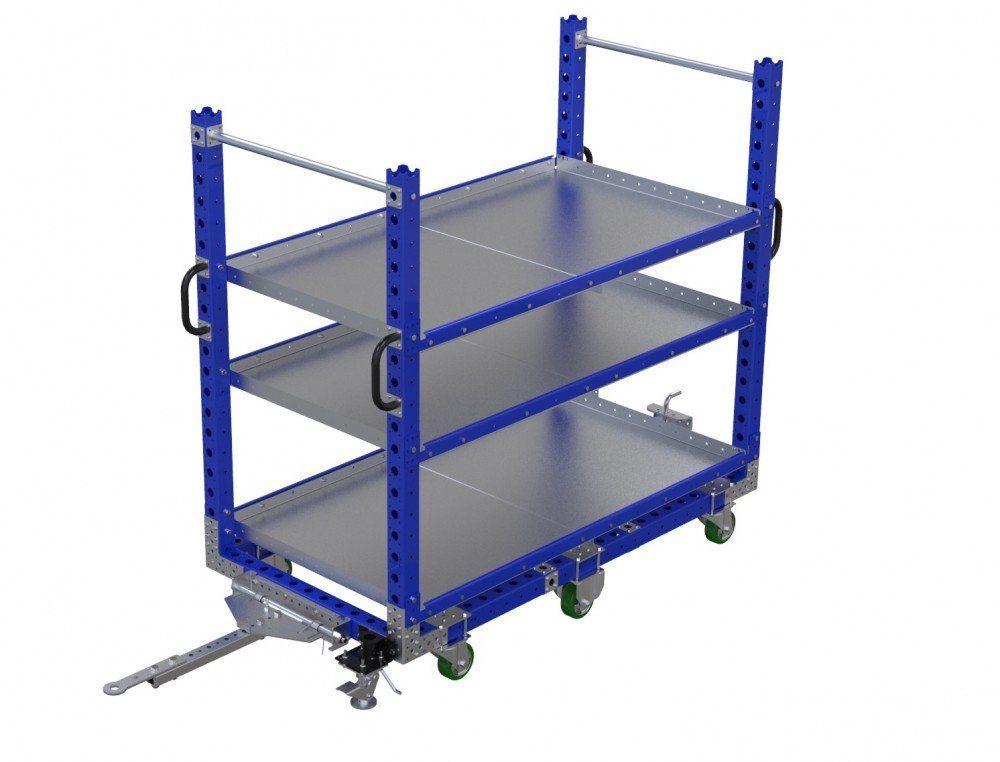 Modular industrial flat shelf tugger cart for FlexQube