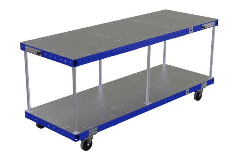 Long assembly table for industrial use by FlexQube