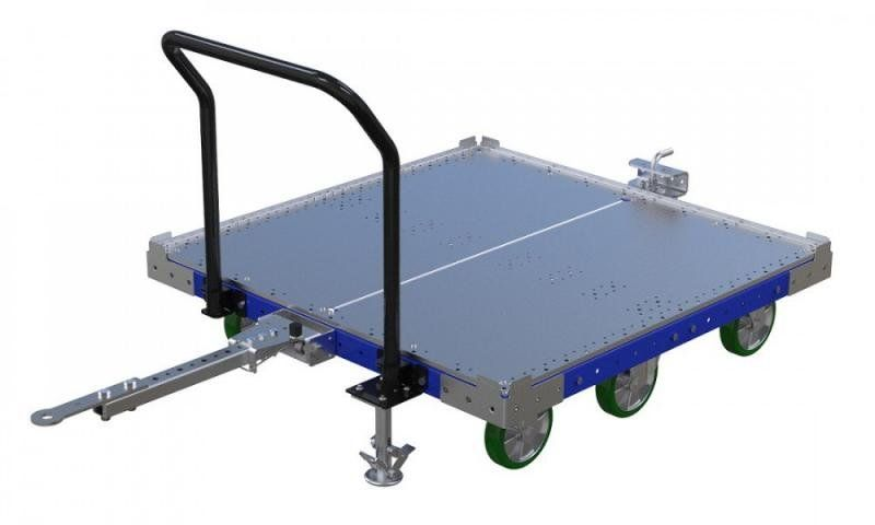 Industrial tugger cart with steel top deck and floor lock brake by FlexQube