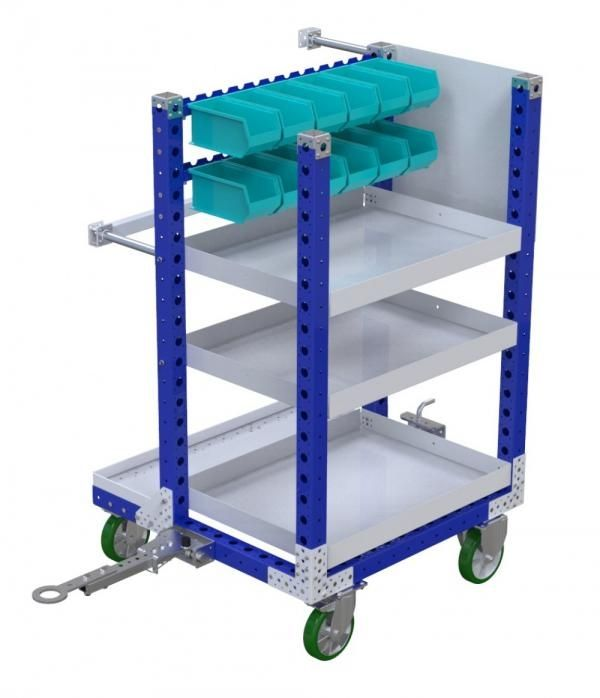 Industrial kit cart with tow bar by FlexQube