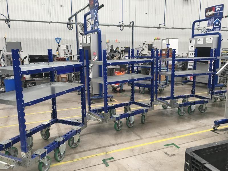 Industrial shelf carts in a tugger train