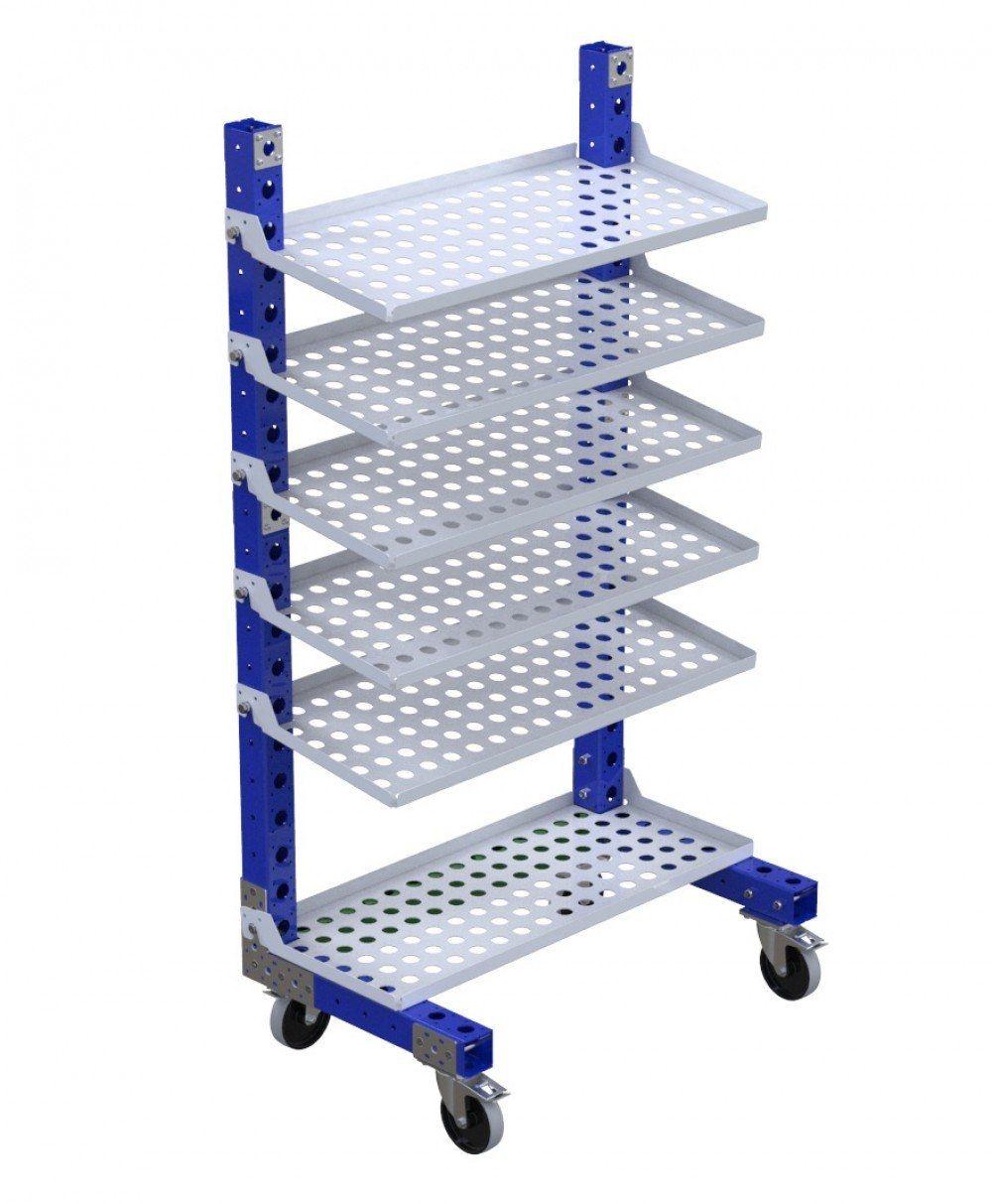 Material handling removable flow shelf cart by FlexQube