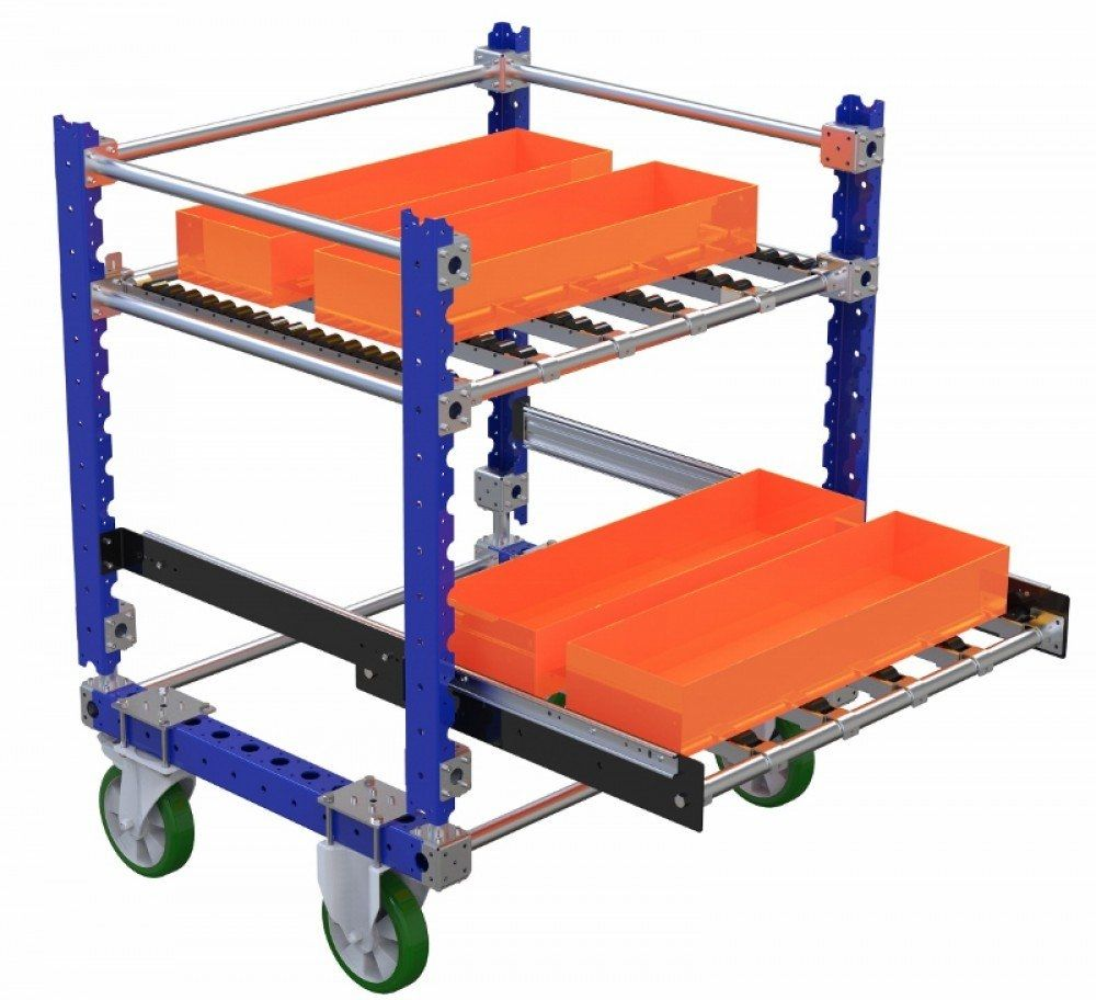 Roller cart with extendable shelves by FlexQube