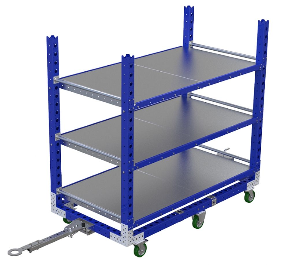 Industrial flat shelf cart 70 x 36 inch by FlexQube